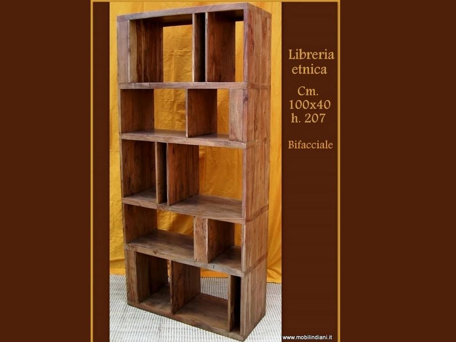 Libreria Etnica Legno.Librerie Ed Etagere Libreria Bifacciale Etnica