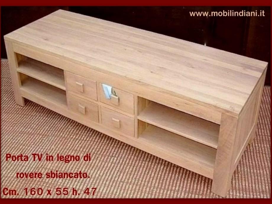 Porta tv etnico porta cd porta tv in rovere sbiancato - Mobili in legno sbiancato ...