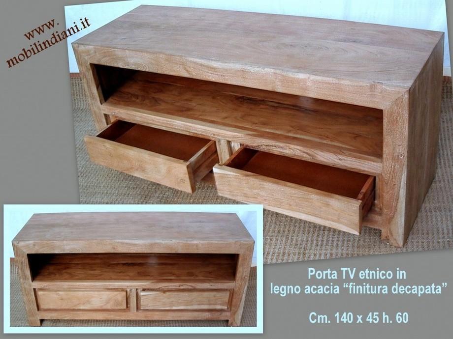 Porta tv etnico porta cd porta tv etnico legno decapato - Porta cd in legno ...