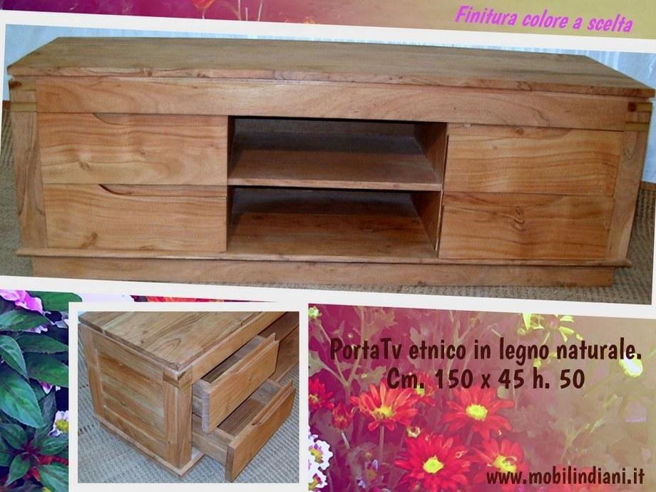 Porta TV e Porta CD: PortaTv orientale legno naturale