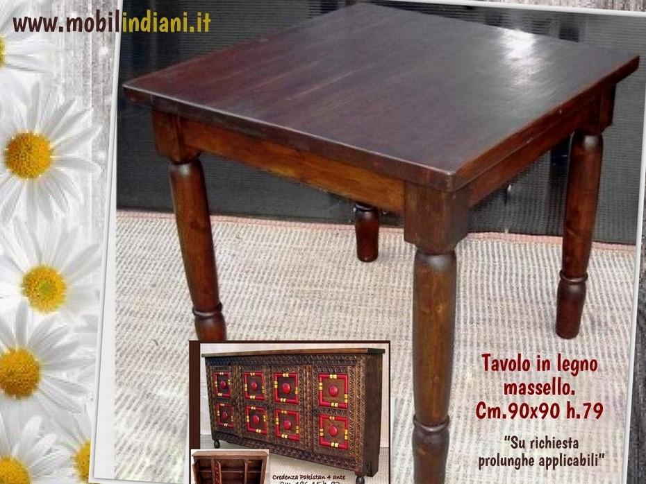 Tavoli etnici da pranzo tavolo in legno quadrato 90x90 - Tavolo da pranzo quadrato ...