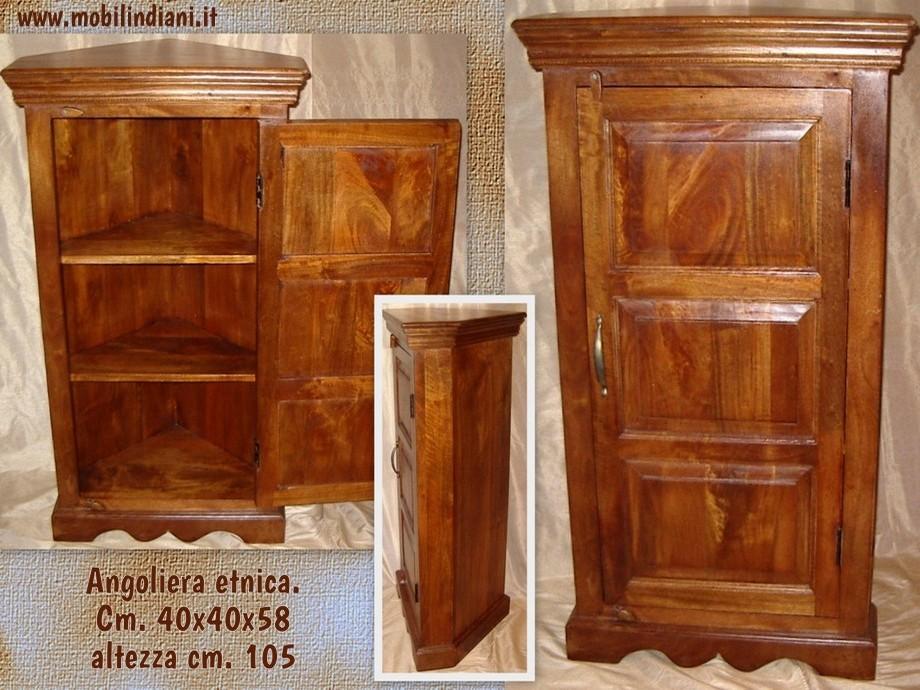 Vetrine Bacheche Angoliere : Angoliera etnica in legno